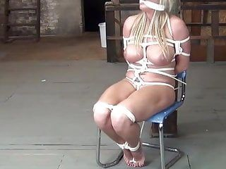 Fat milf fastened to a chair