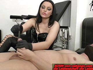 Tube and finger in rod painful from german dominatrix-bitch castigation