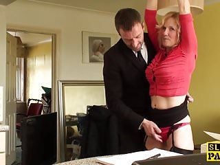 Tiedup brit sub fingerfucked previous to throated