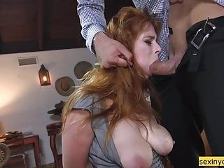 Boy copulates a fastened redhead gal hard