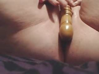 Bbw copulates her vagina with wooden sex toy
