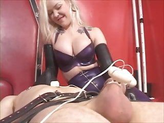 Latex female-dominator edging milking machine