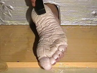Biancas moist pruney feet punishment with staples