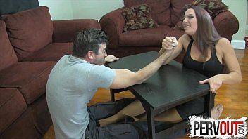 Arm wrestling foot job ballbusting femdom tugjob